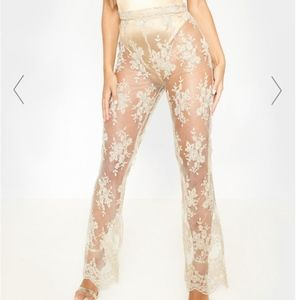 Champagne Sheer Lace High Waisted Flare Pants